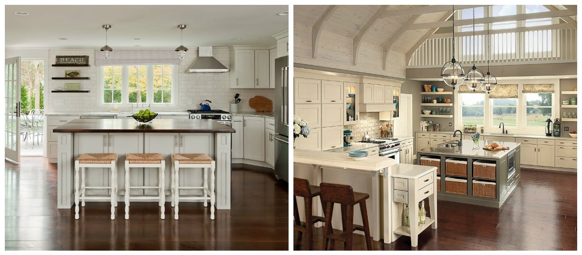 cottage kitchen ideas, stylish kitchen island in cottage style