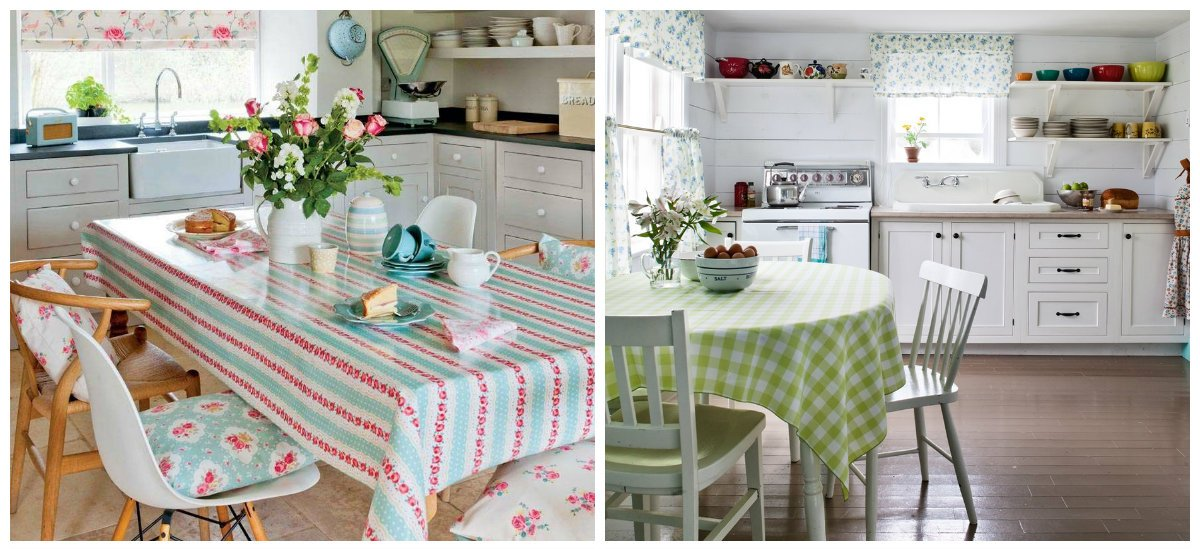 cottage kitchen ideas, tablecloths in cottage kitchen ideas