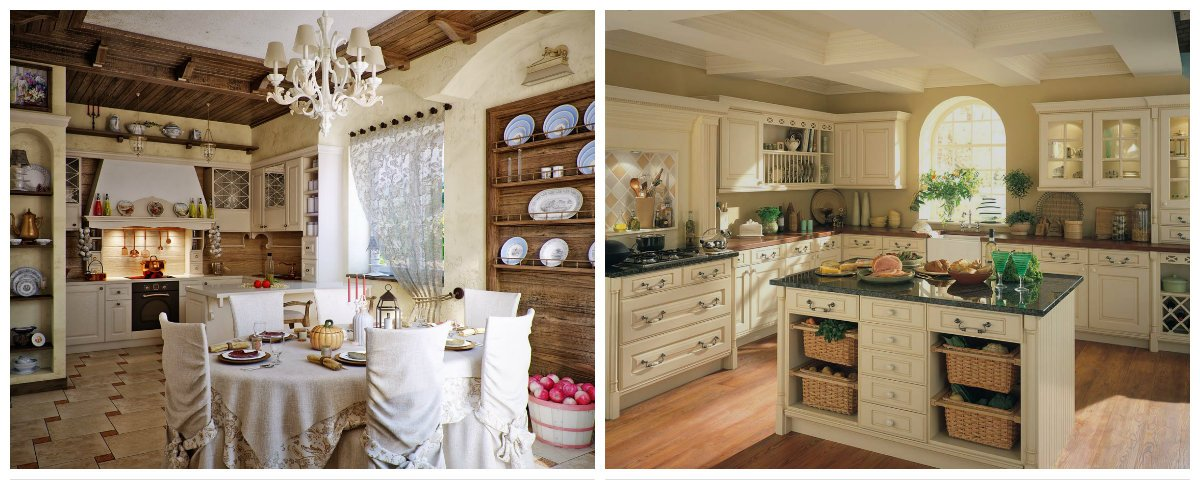 country interior design, kitchen-dining room in country interior style