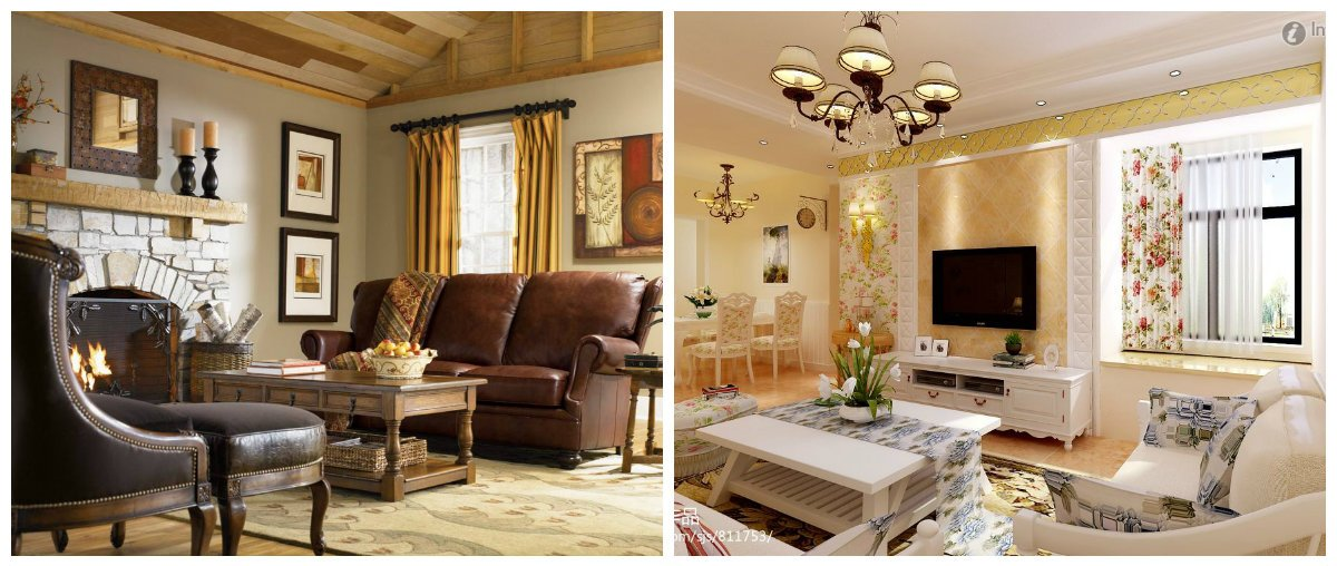 country interior design, living room in country interior style