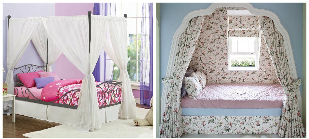 girls bedroom decor, use of baldachin in girls bedroom design