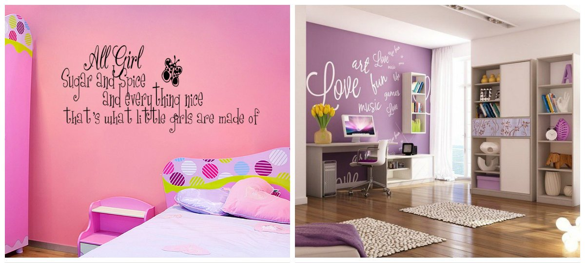 girls bedroom decor, inscriptions in girls bedroom wall design