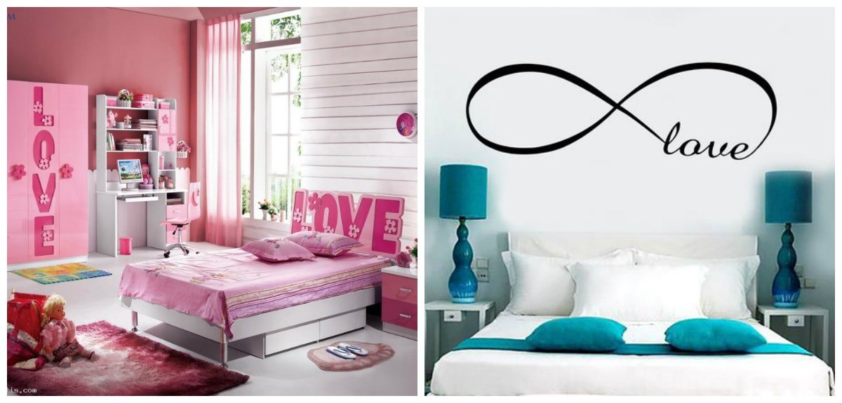 girls bedroom decor, love inscription on wall of girls bedroom