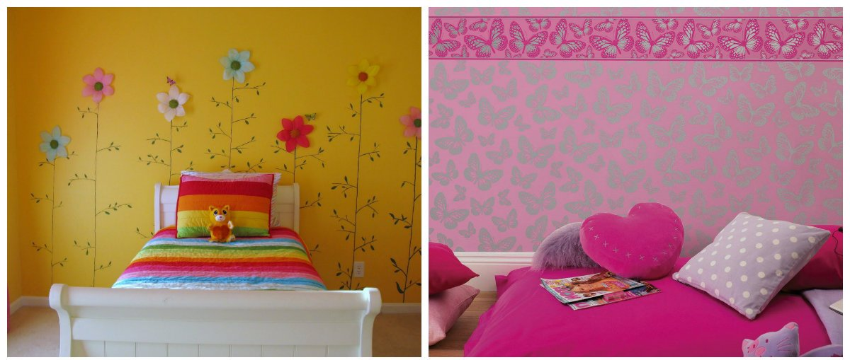 girls bedroom decor, wallpaper design in girls bedroom