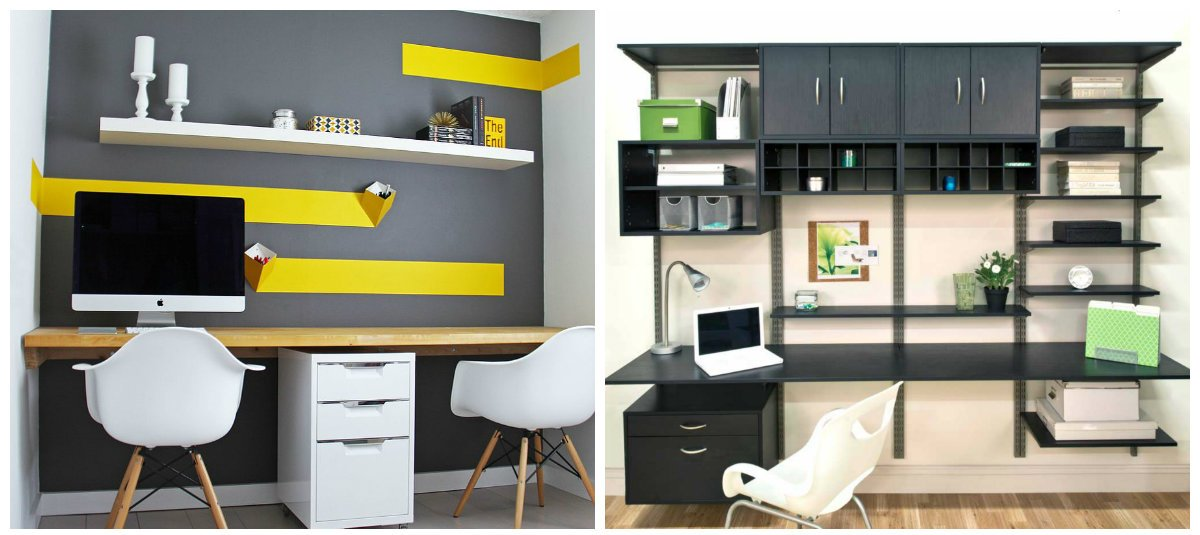 home office ideas, stylish shelves in home office interior design
