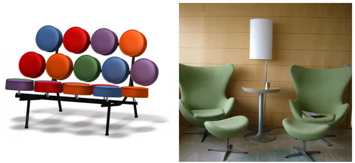 mid century modern decor, stylish chairs, marshmallow sofa in mid century modern decor
