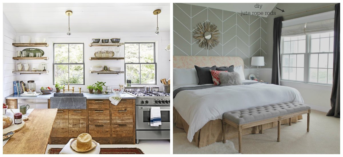 modern country decor, kitchen in country style, bedroom in country style