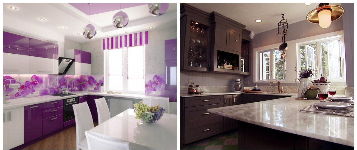 modern kitchen design 2019, lilac color, gray color in kitchen design