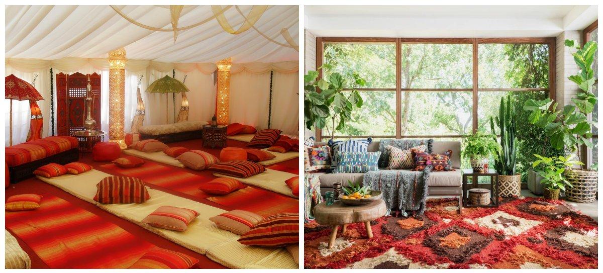 Moroccan home decor, carpets in Moroccan home decor