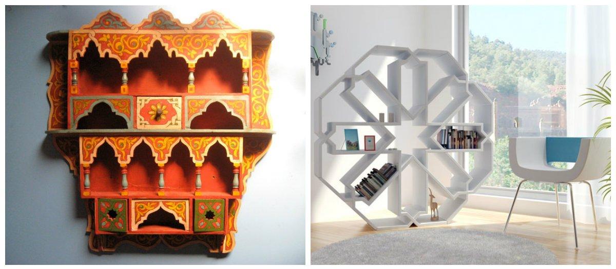 Moroccan home decor, shelves in Moroccan home decor