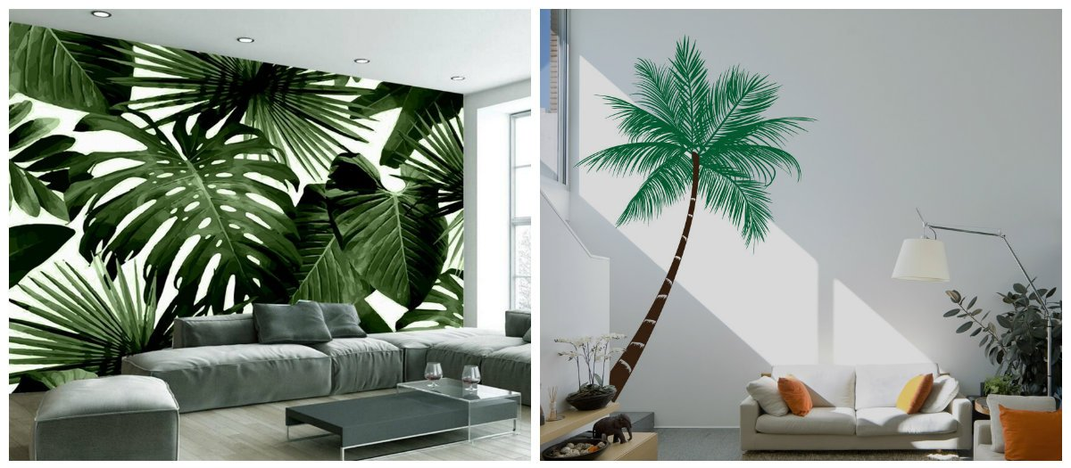 tropical living room, tropical interior design with palm trees