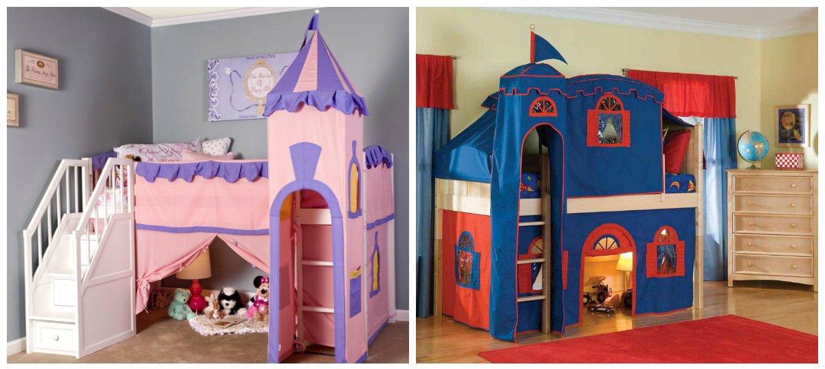 baby boy room ideas, castle and tent in baby boy room interior design
