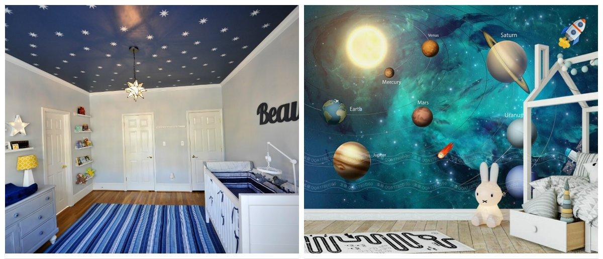 baby boy room ideas, ceiling design in baby boy room interior design