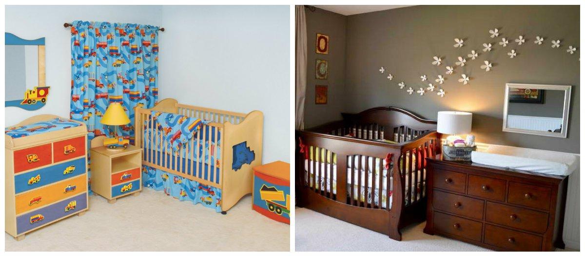 baby boy room ideas, mirror and curtain design in baby boy room interior design