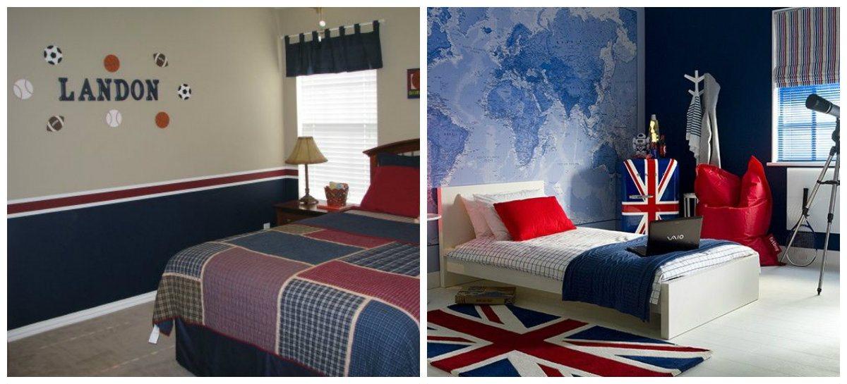 boys bedroom wallpaper, combination of wallpaper styles for boys bedroom