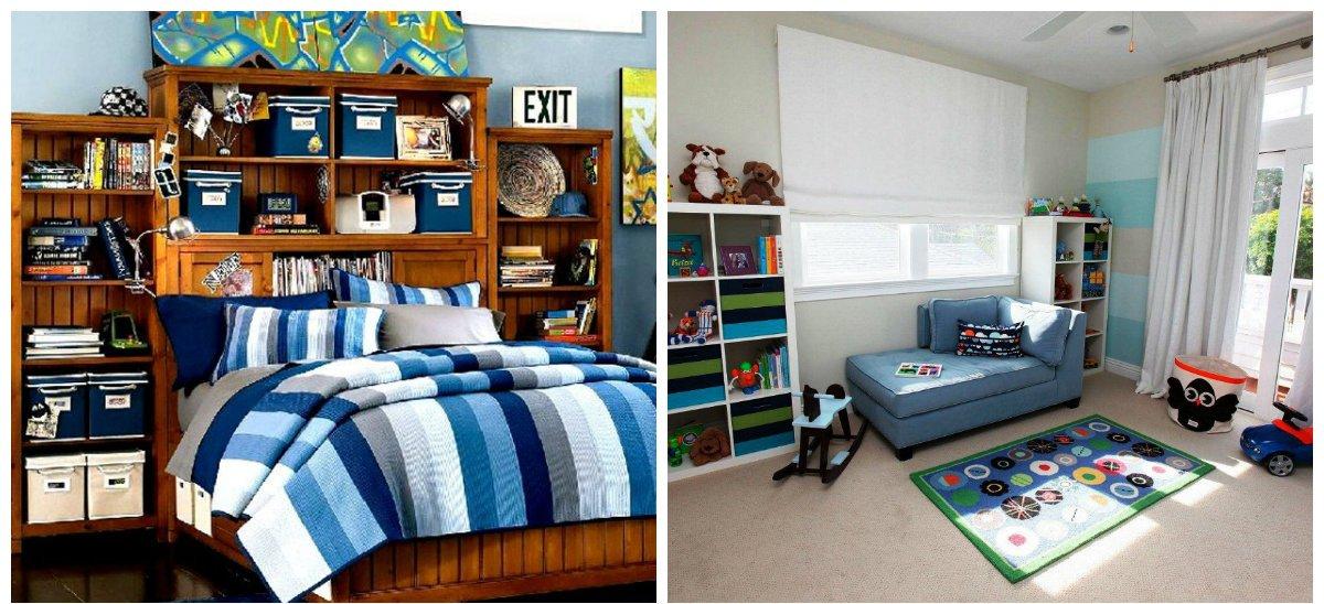 boys room design, sofa bed, stylish bookshelves in boys room design