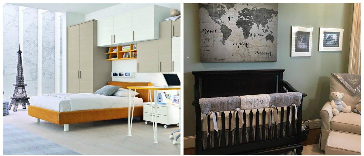 boys room design, travel theme in boys room interior design