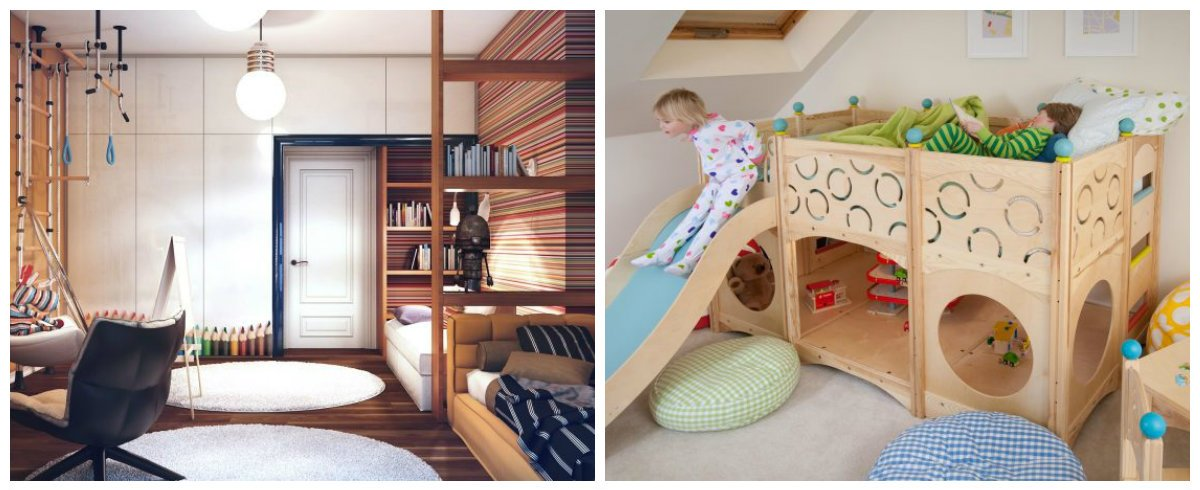 children room design, mini-gym in children room interior design