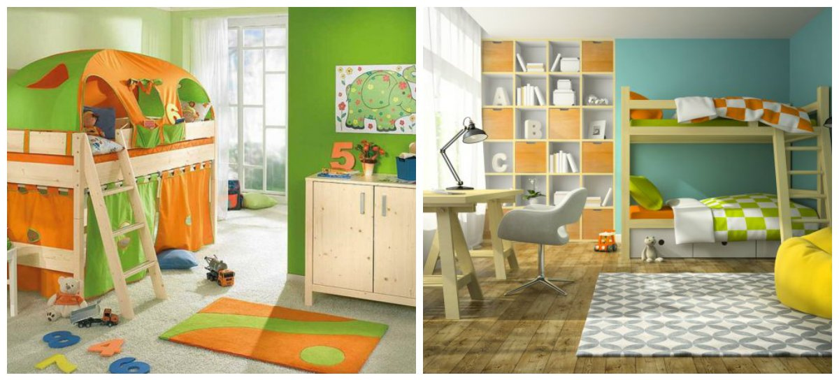 children room design, two-tiered bed in children room design
