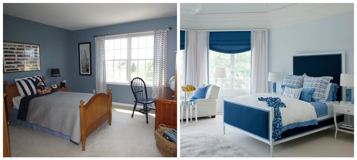 kids room design, brown-blue combination, navy blue and white