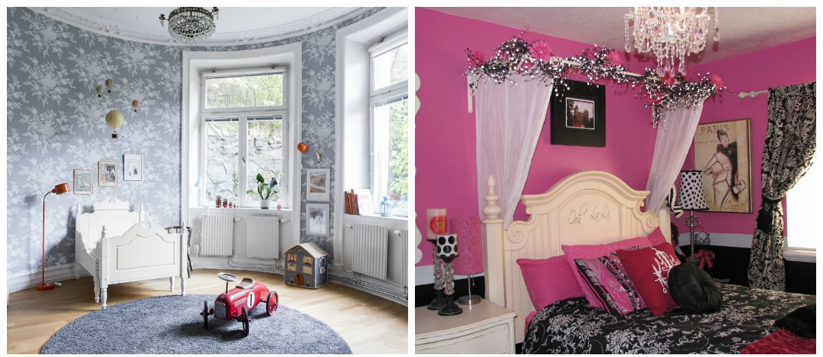 kids room design, glamour style, Parisian style in kids room design