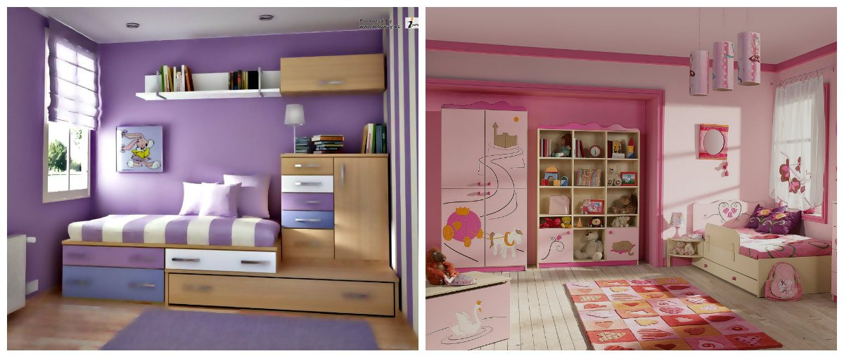 kids room design, white and lilac, beige and pink colors