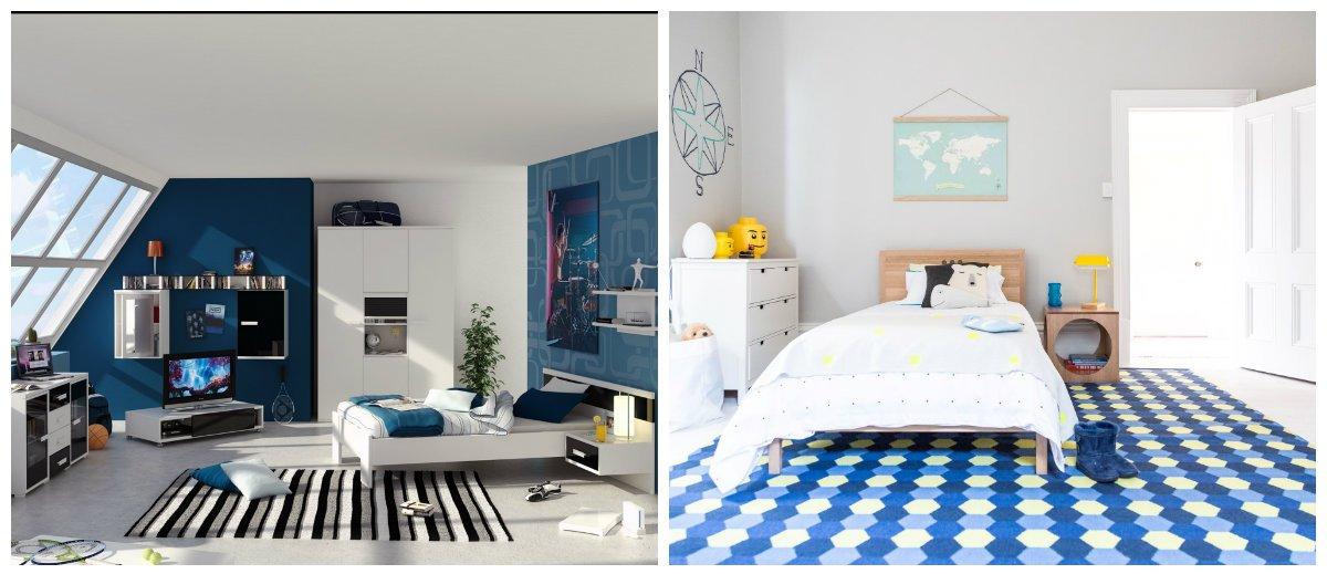 kids room design, white-black-blue color combination