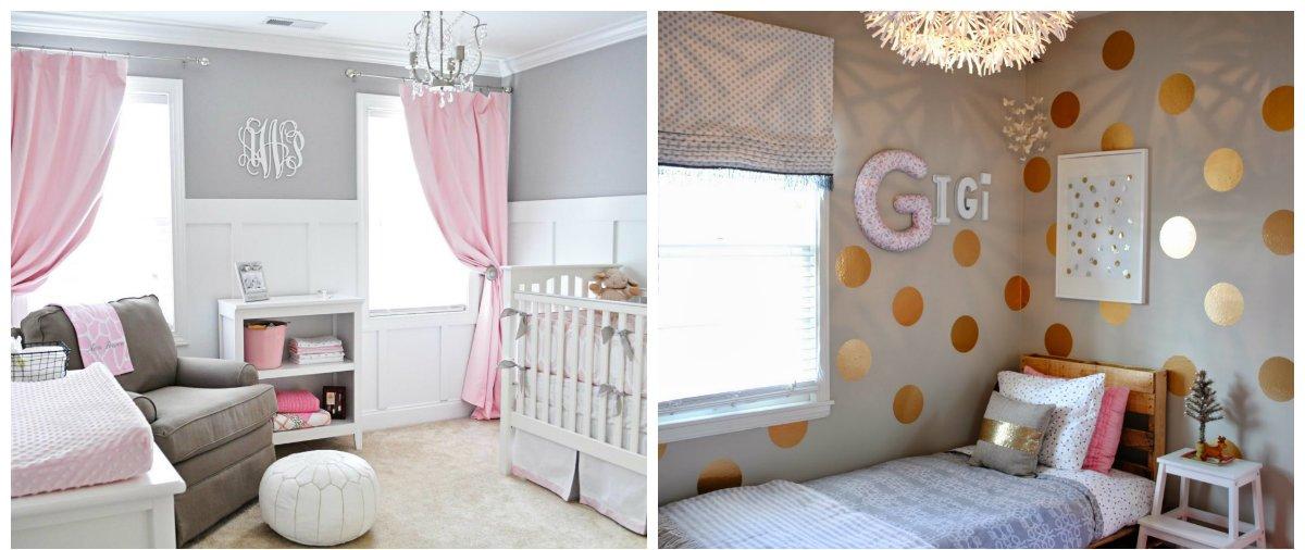 kids room design, white-grey-gold, white-grey-pink scheme