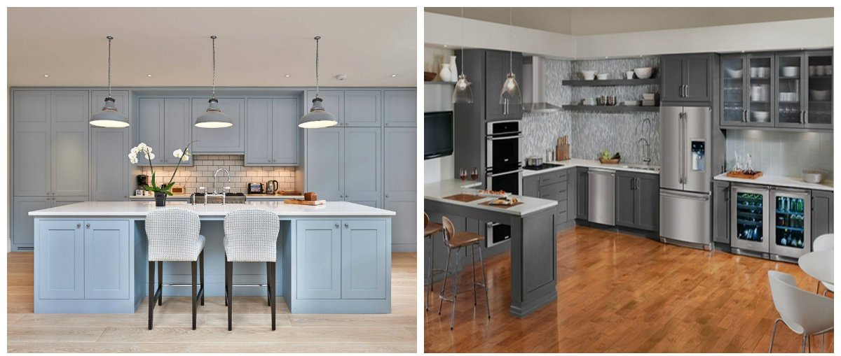 kitchen cabinet ideas 2019, blue kitchen cabinet, gray kitchen cabinet