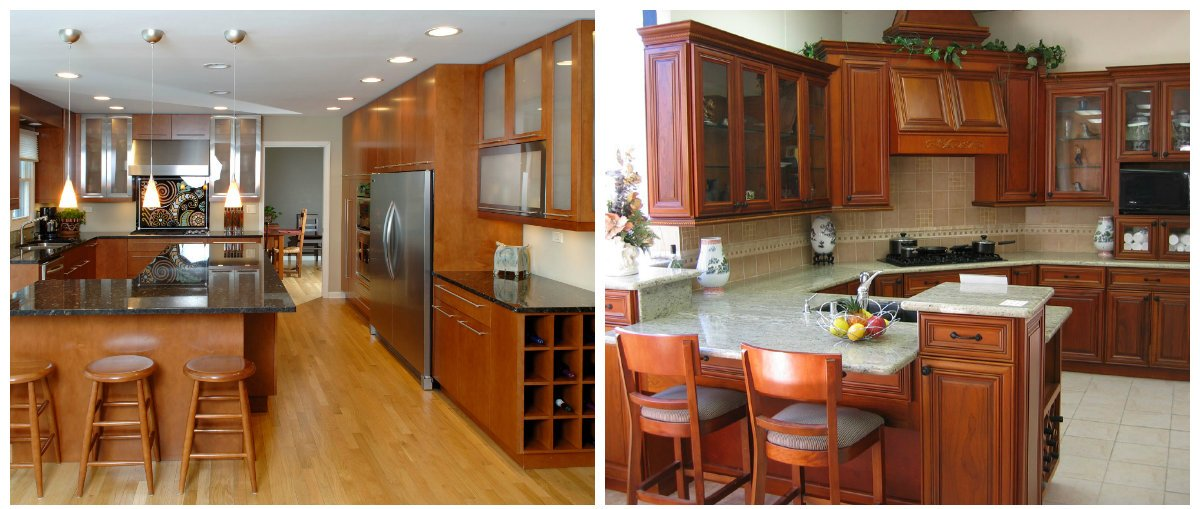 kitchen cabinet ideas 2019, use of wood in kitchen cabinet design 2019