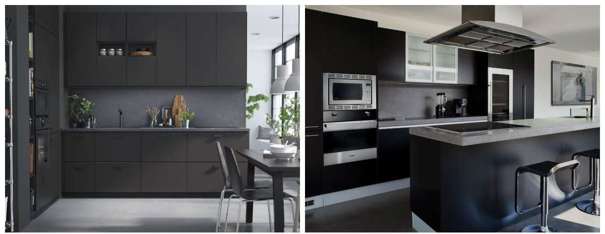 kitchen color trends 2019, black matte color in kitchen color trends 2019