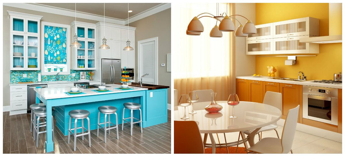kitchen color trends 2019, bright blue kitchen, yellow kitchen design