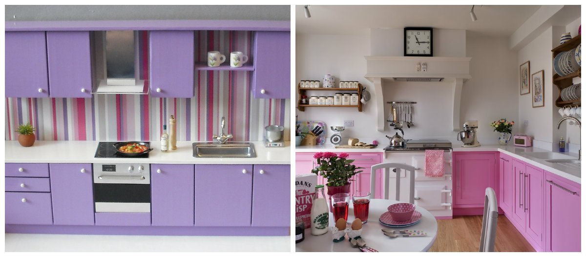 kitchen color trends 2019, lilac kitchen, pink kitchen