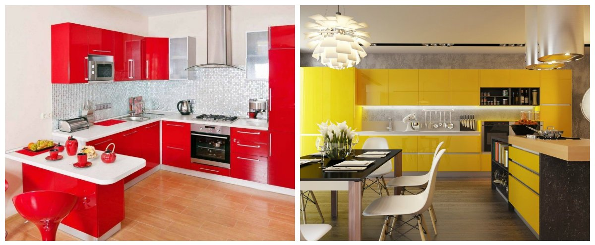 kitchen color trends 2019, red kitchen, yellow kitchen