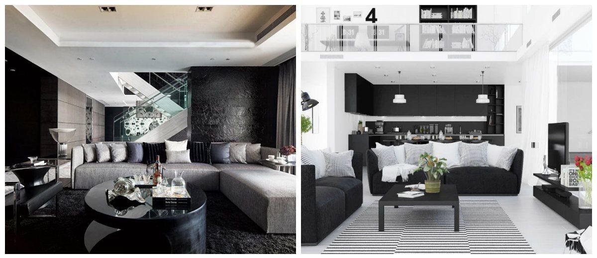 living room design 2019, black living room design 2019