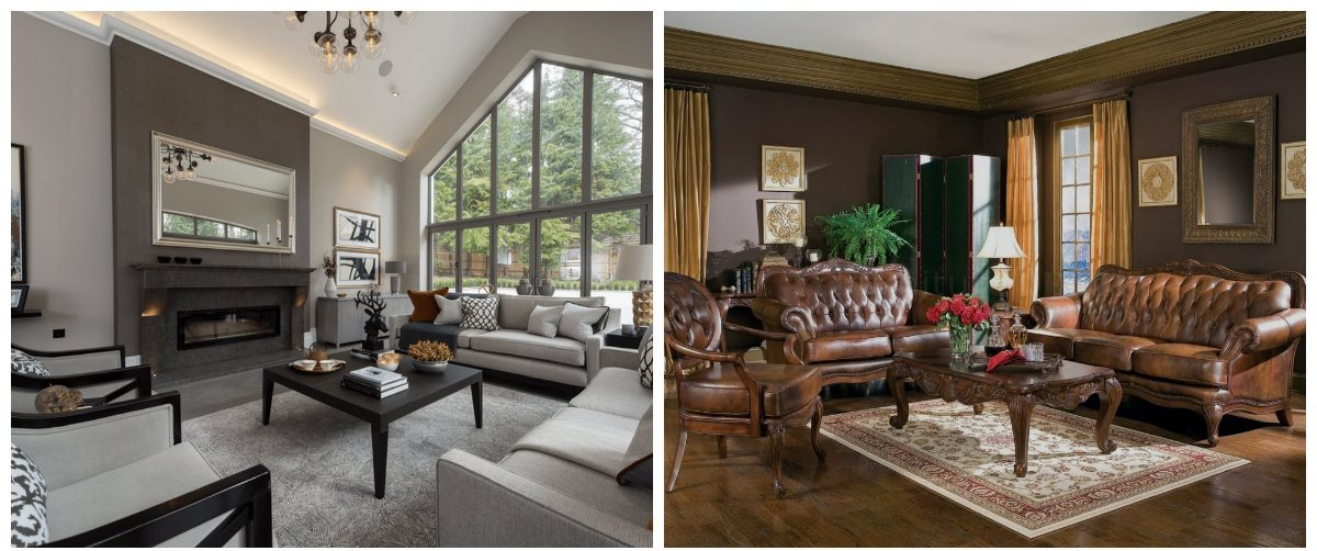 living room design 2019, gray living room, brown living room