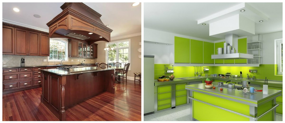 modern kitchen 2019, green kitchen, brown kitchen