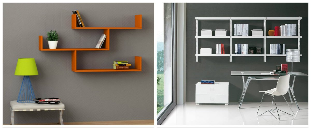 modern office decor, wall shelves in modern office decor