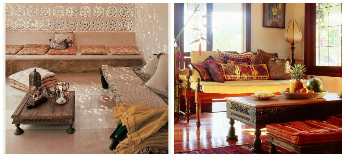 interior design of hall in Indian style, floor design in Indian style