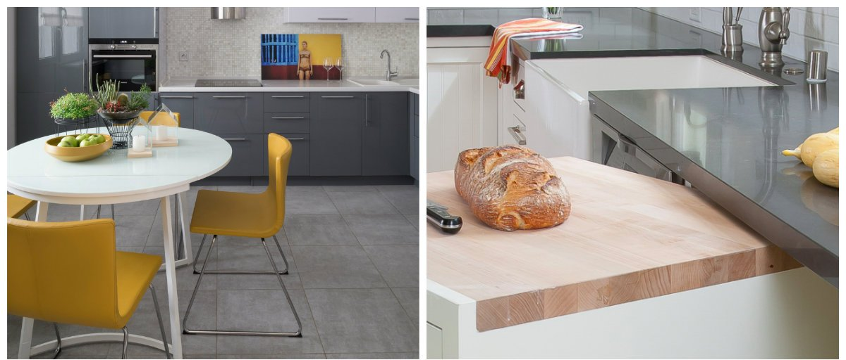 kitchen renovation ideas 2019, bright chairs, folding table