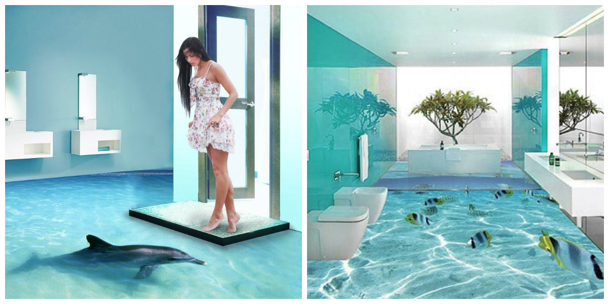 beach bathroom ideas, 3D floor wallpaper in beach bathroom ideas