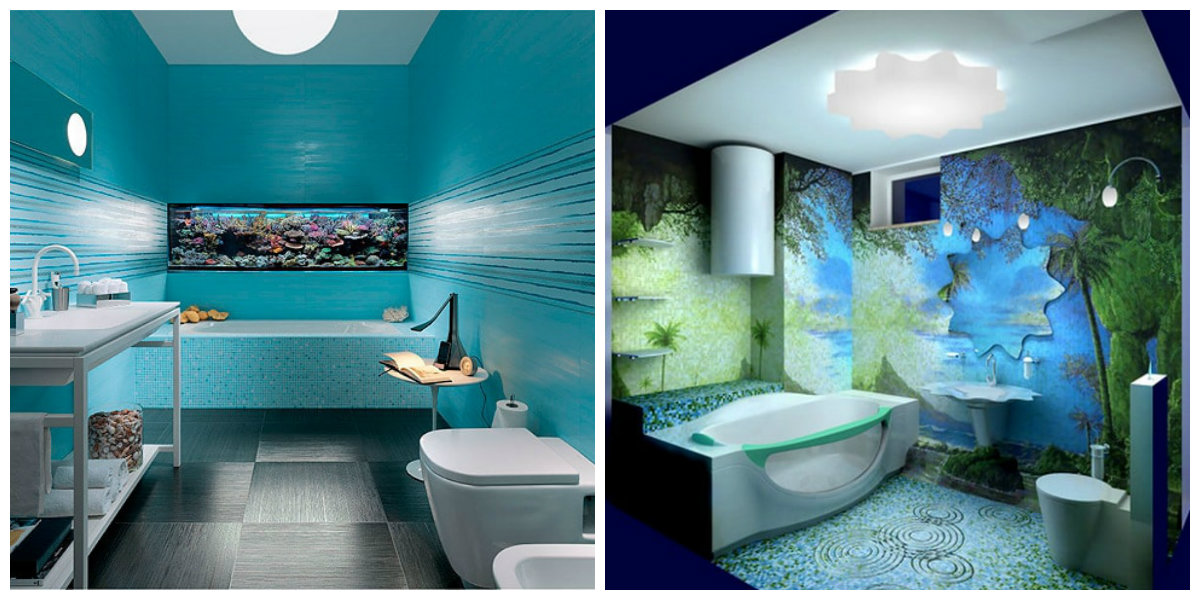 beach bathroom ideas, turquoise bathroom, 3D wallpaper in beach bathroom ideas