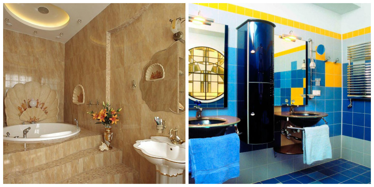 beach bathroom ideas, blue and yellow bathroom, sandy color bathroom
