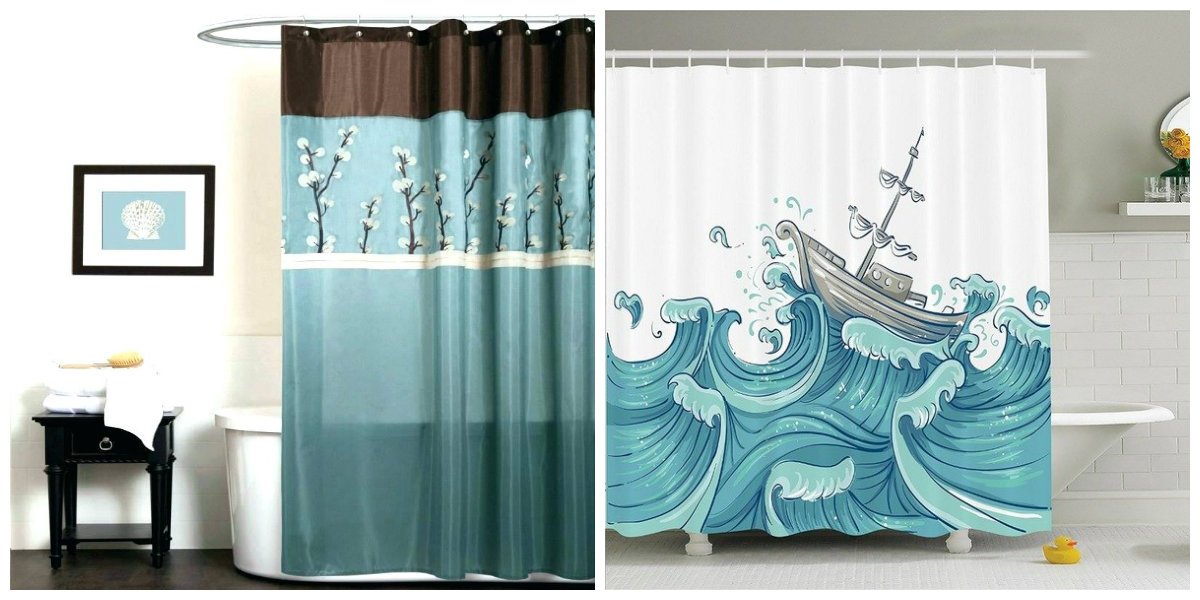 beach themed bathroom, curtains in beach themed bathroom