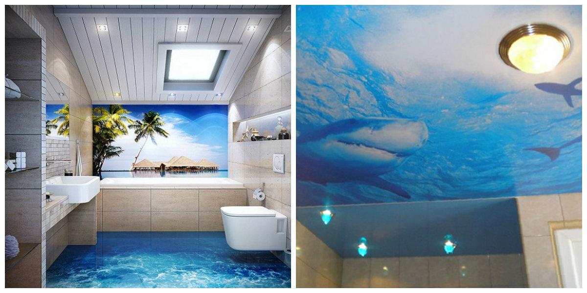 beach themed bathroom, floor and ceiling design in beach themed bathroom