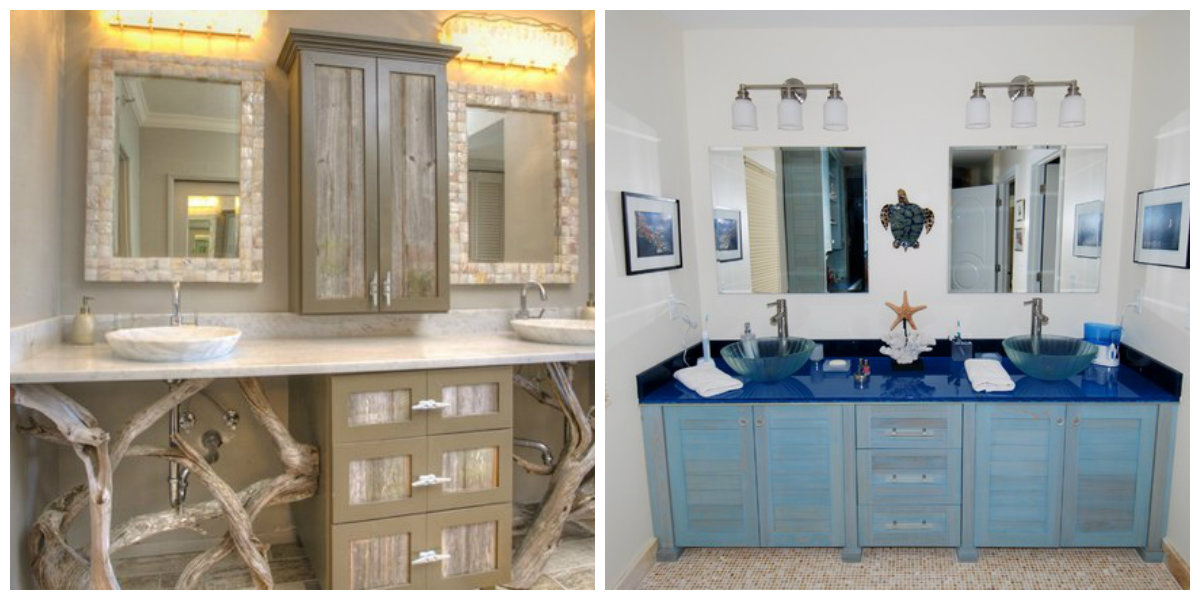 beach themed bathroom, furniture in beach themed bathroom