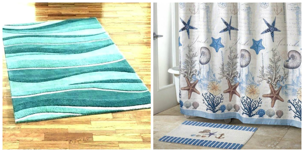 beach themed bathroom, stylish rugs for beach themed bathroom