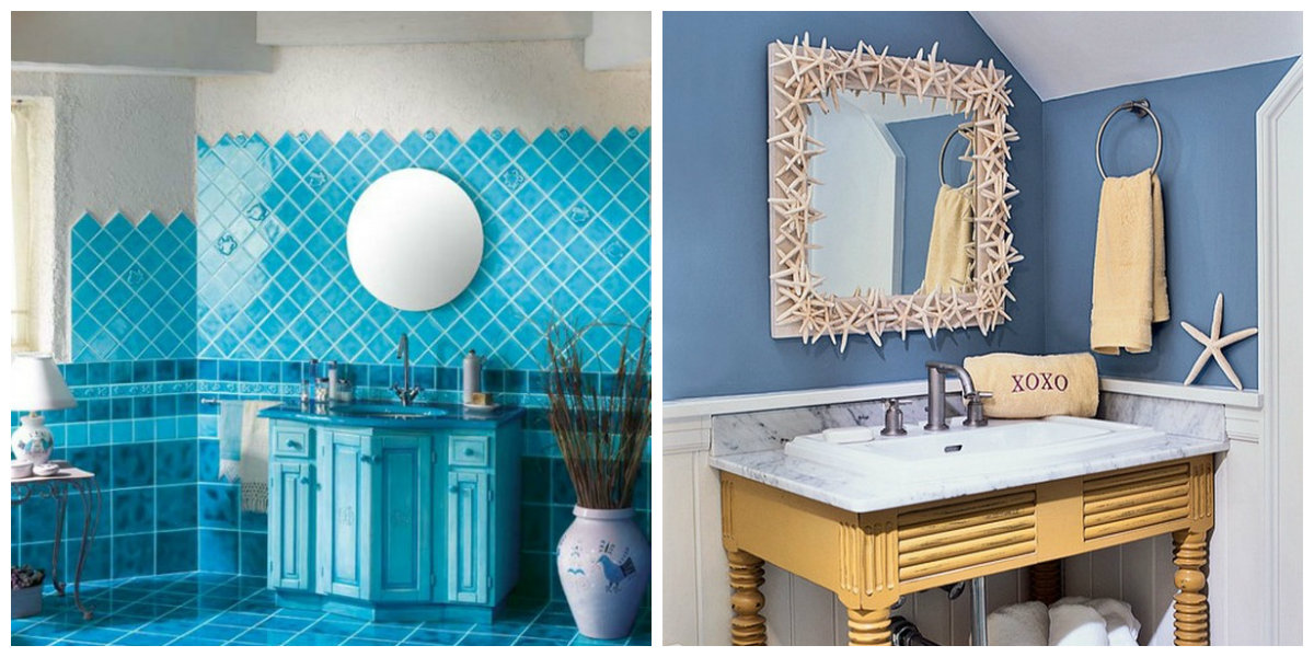 beach themed bathroom, wall design in beach themed bathroom
