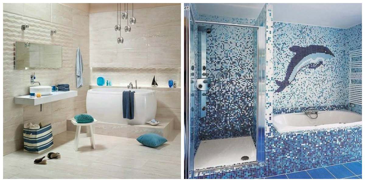 beach themed bathroom, white and blue beach bathroom