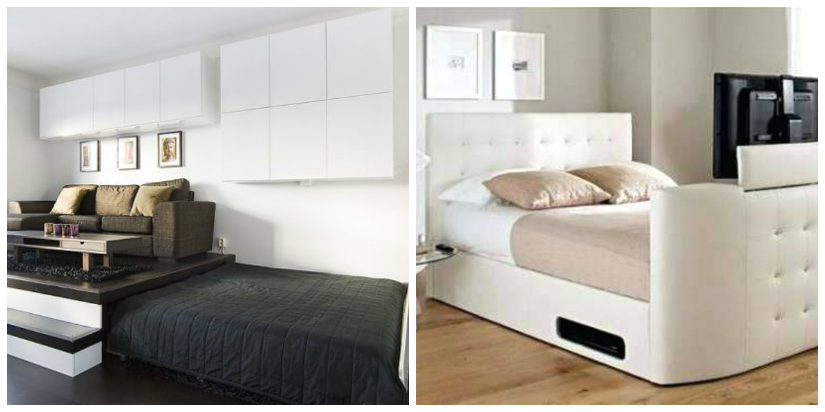double bed design 2019, stylish bed transformer